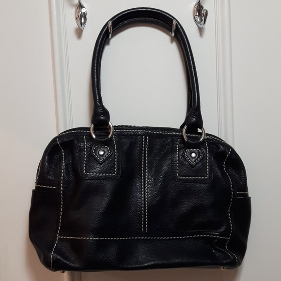 Genuine leather black roots purse